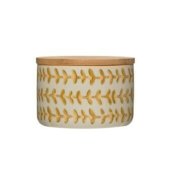 Stamped Stoneware Canister w/ Bamboo Lid & Floral Pattern