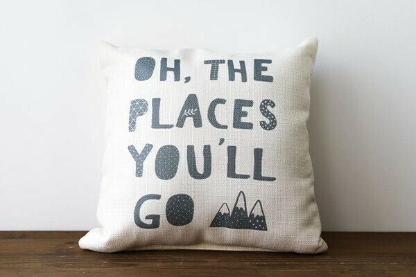 OH THE PLACES YOU'LL GO MOUNTAIN PILLOW
