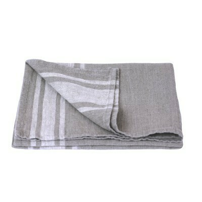 Linen Hand Towel - Stonewashed - Natural with Light Natural Stripes - Luxury Thick Linen