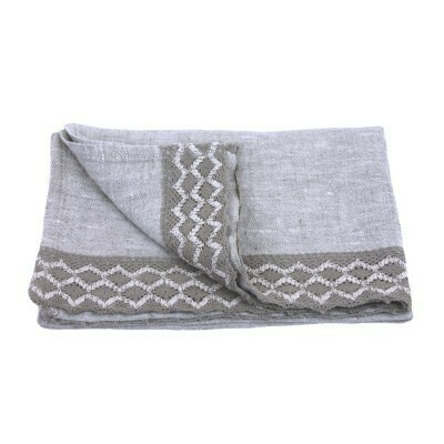 Linen Hand Towel - Stonewashed - Light Natural with Natural Lace - Thick Linen