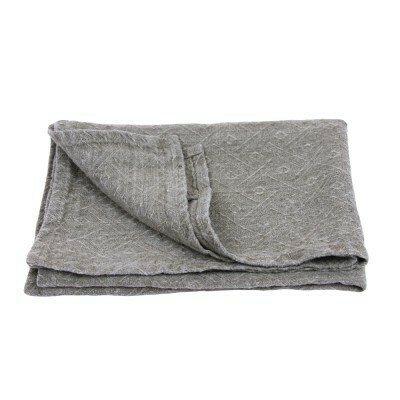 Linen Hand Towel - Stonewashed - Natural with Diamonds Pattern - Medium Thick Linen