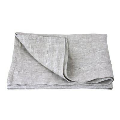 Linen Hand Towel - Stonewashed - Light Natural with Dot Hemstitch - Medium Thick Linen