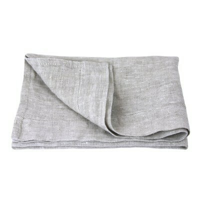 Linen Hand Towel - Stonewashed - Light Natural with Dot Hemstitch - Medium Thick Linen