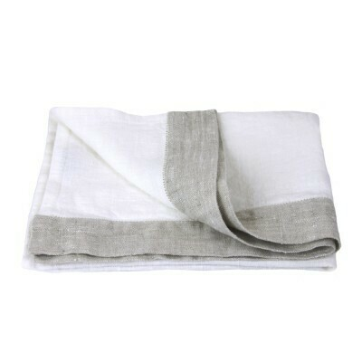 Linen Hand Towel - Stonewashed - White with Light Natural trim