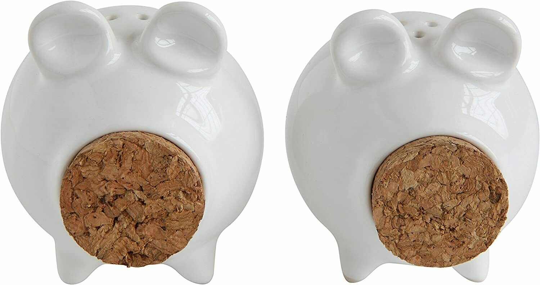 White Pig Shaped Stoneware & Cork Salt & Pepper Shakers (