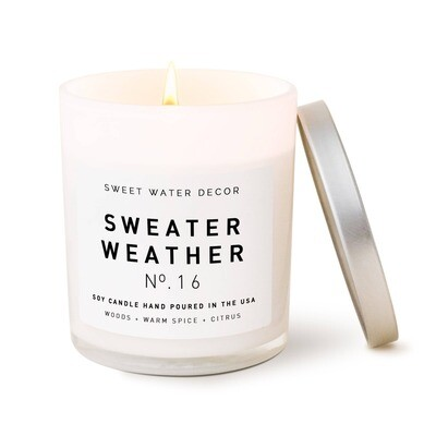 Sweater Weather Soy Candle | White Jar Candle