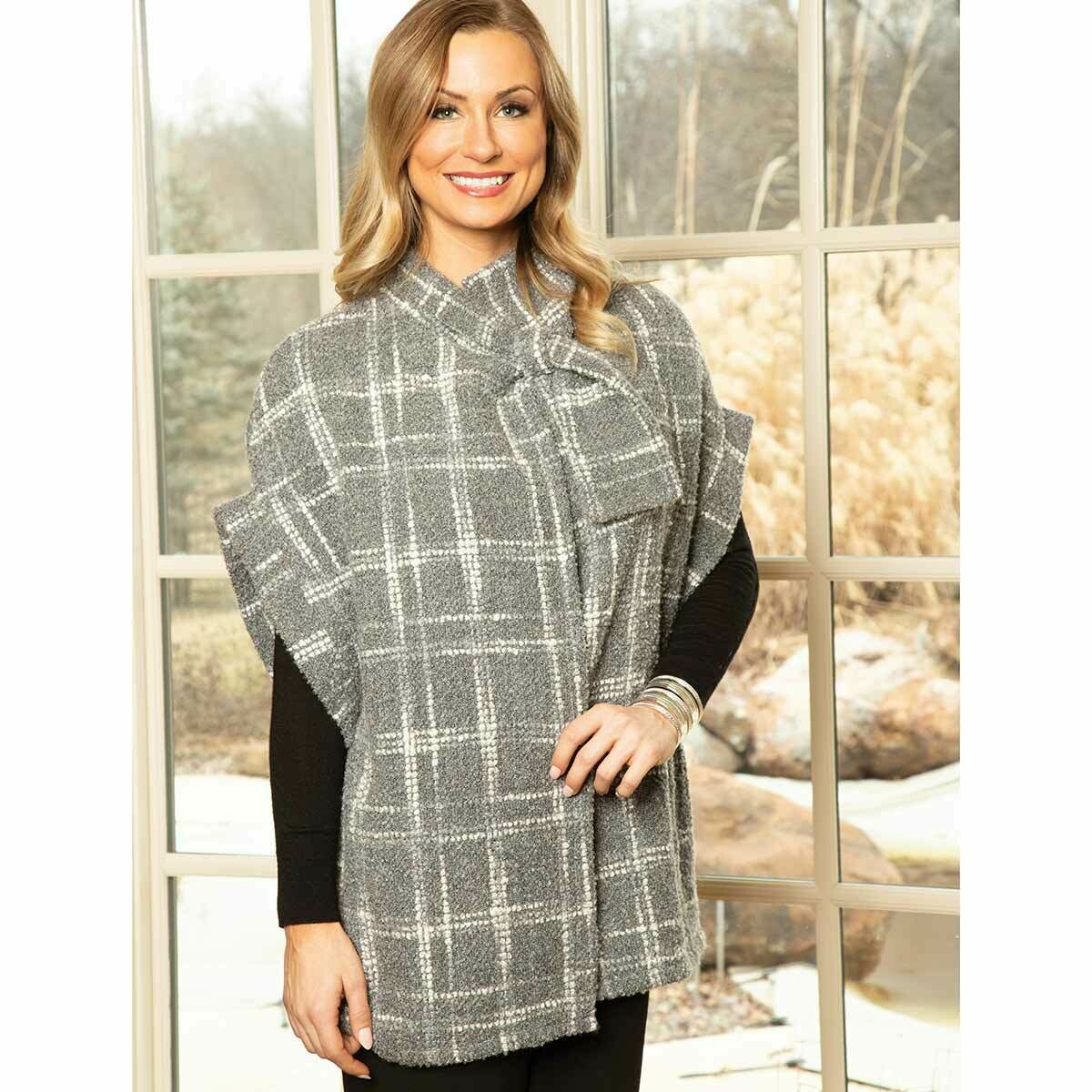 Soft Boucle Knit Grey Plaid Jacket