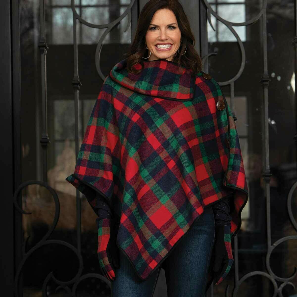 Red, Black and Green Plaid Brushed Twill Poncho