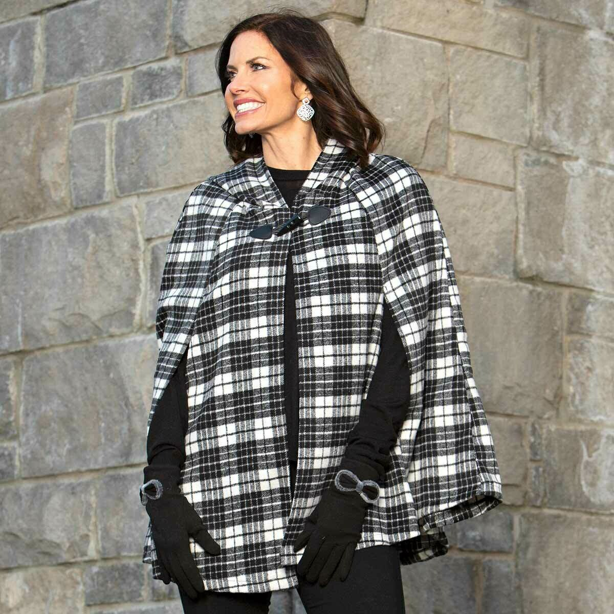Black and White Plaid Cape with Toggle Clasp and Hood
