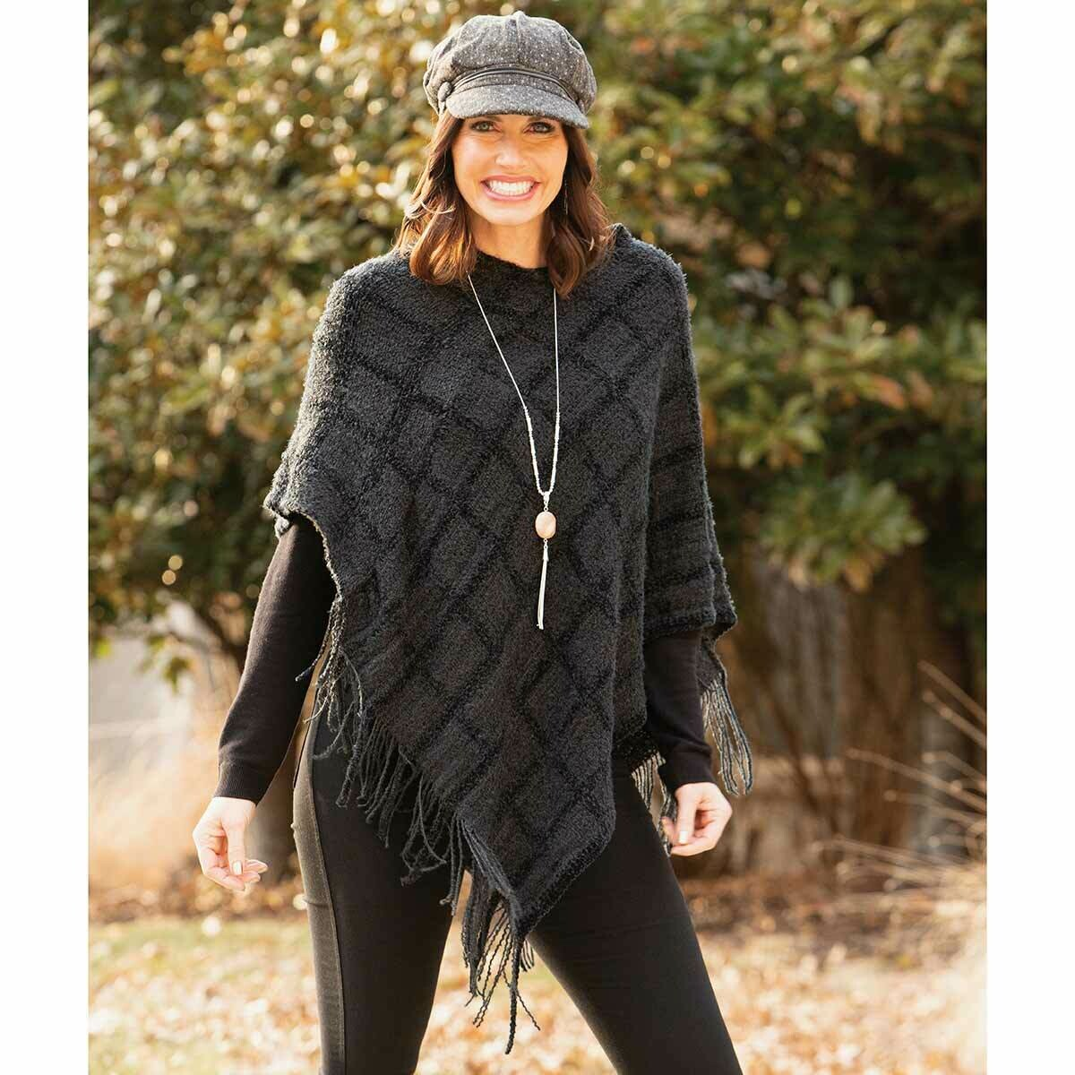 Charcoal Grey Window Pane Knit Poncho