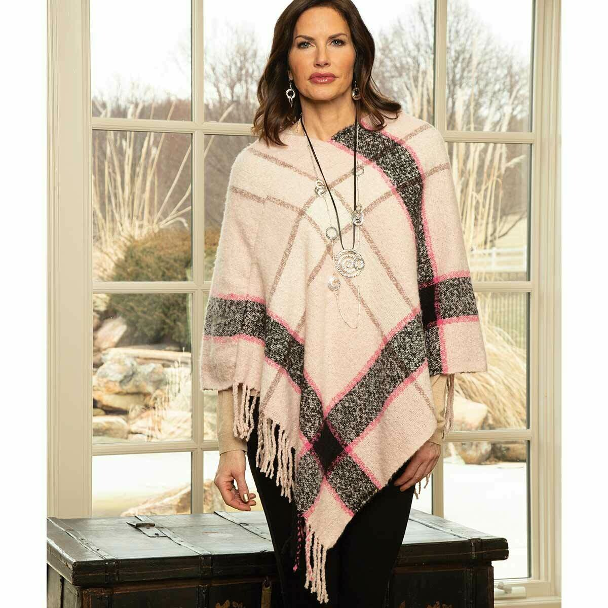 Pink and Grey Stripe Knit Poncho