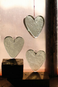 hanging recycled glass \ heart
