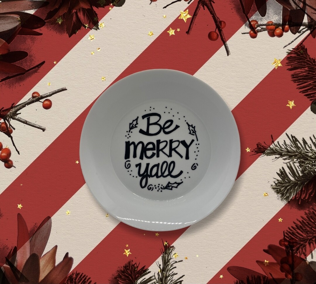 Be Merry black and white bowl
