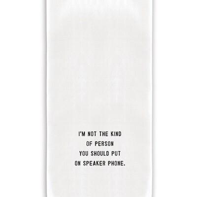 Speaker phone tea towel
