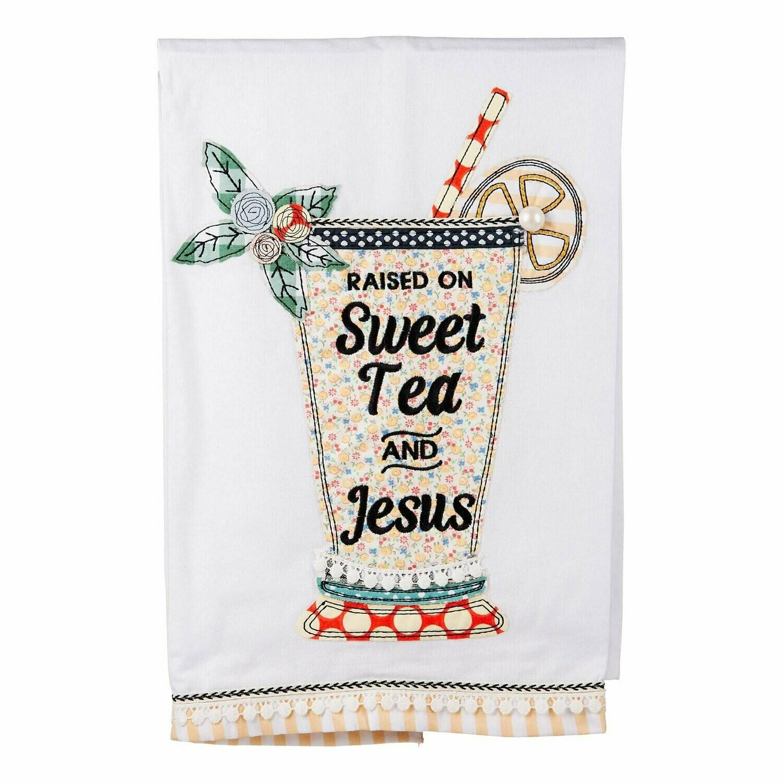 SWEET TEA AND JESUS GLASS TEA TOWEL