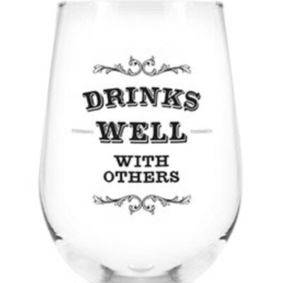 Drinks well with others stemmed wine glass