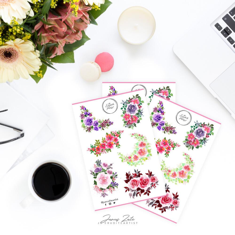 Floral Doodle Glitter Sticker Sheet