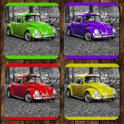 8 set - Coasters - VW Beetle