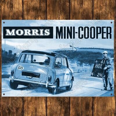 Aluminium Sign - 200mm X 285mm - Morris Mini Cooper - blue