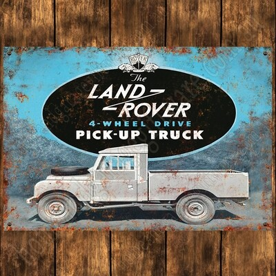Aluminium Sign - 200mm X 285mm -  LAND ROVER PICK UP TRUCK