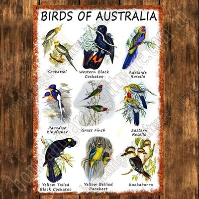 Aluminium Sign - 200mm X 285mm - BIRDS OF AUSTRALIA (A)