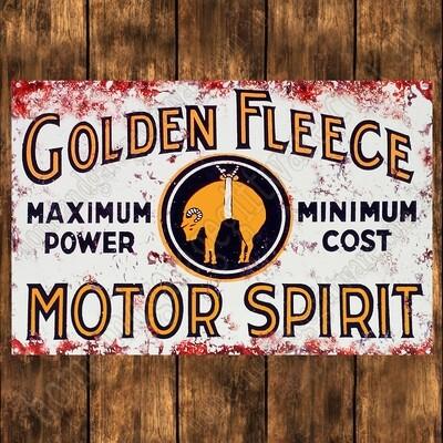 Aluminium Sign - 200mm X 285mm -  GOLDEN FLEECE MOTOR SPIRIT