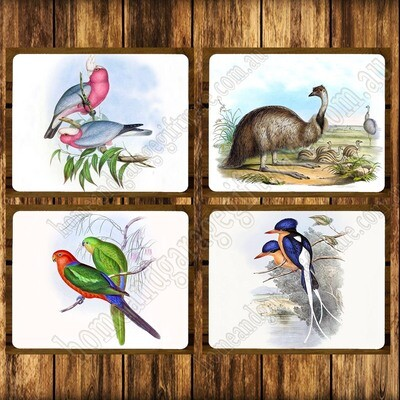 SET OF 4 PLACEMATS - JOHN GOULD - GALAH, EMU, KING PARROT, KINGFISHER