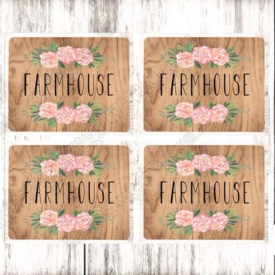 SET OF 4 PLACEMATS - FARMHOUSE TIMBER & PEONY
