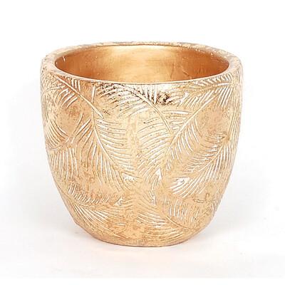 Gold Leaf Concrete Pot