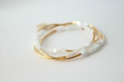 Gold & White Square Bracelet