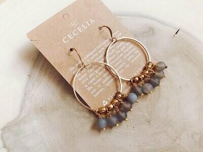 Matte Grey Agate - Boho Hoop Earrings