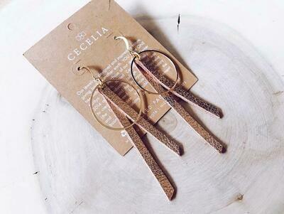 Tassel Hoop Earrings - Rose Gold