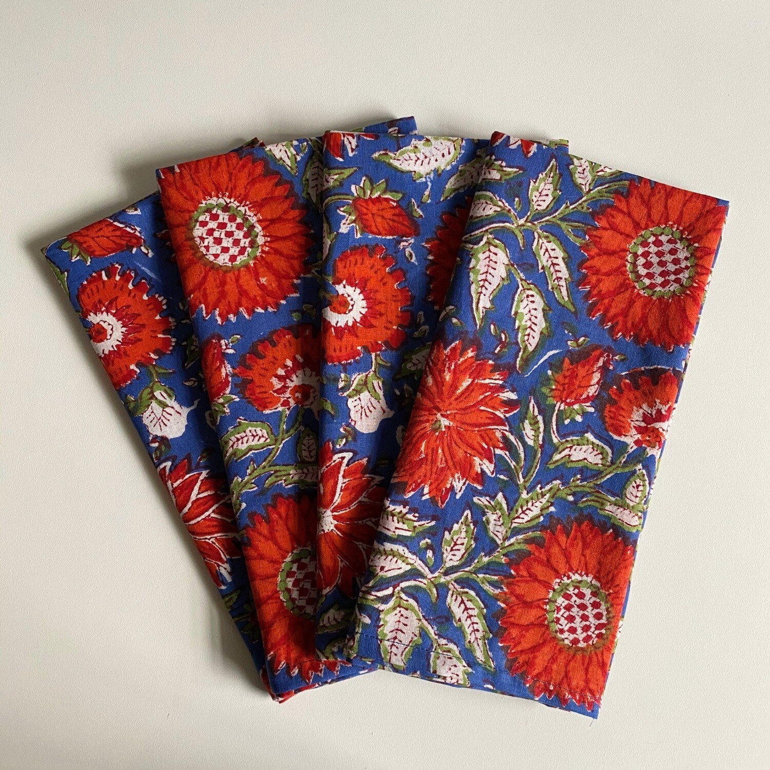 Hand Block Printed Napkins In Midnight Bloom