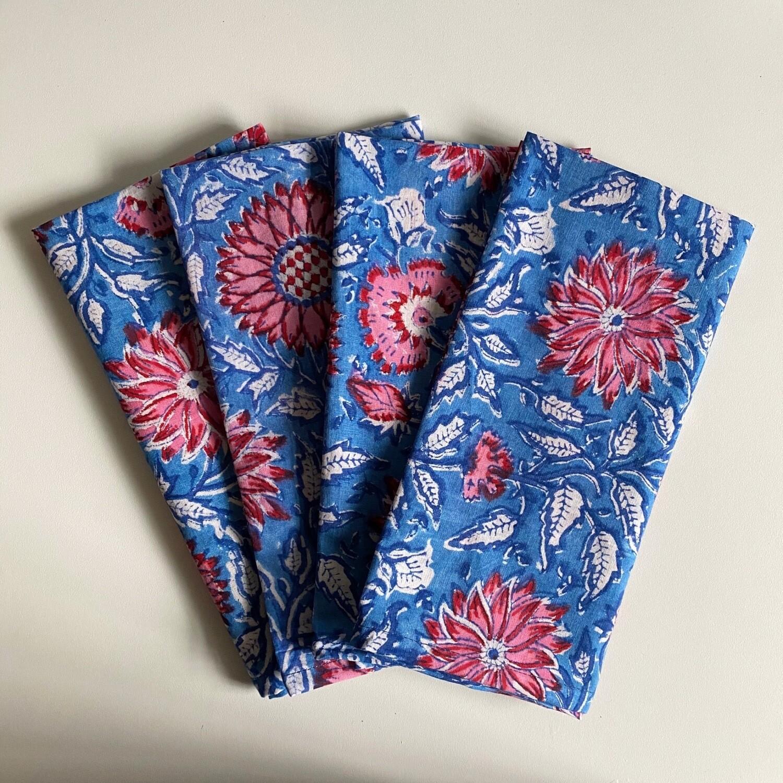 Hand Block Printed Napkins In Cerulean Skies
