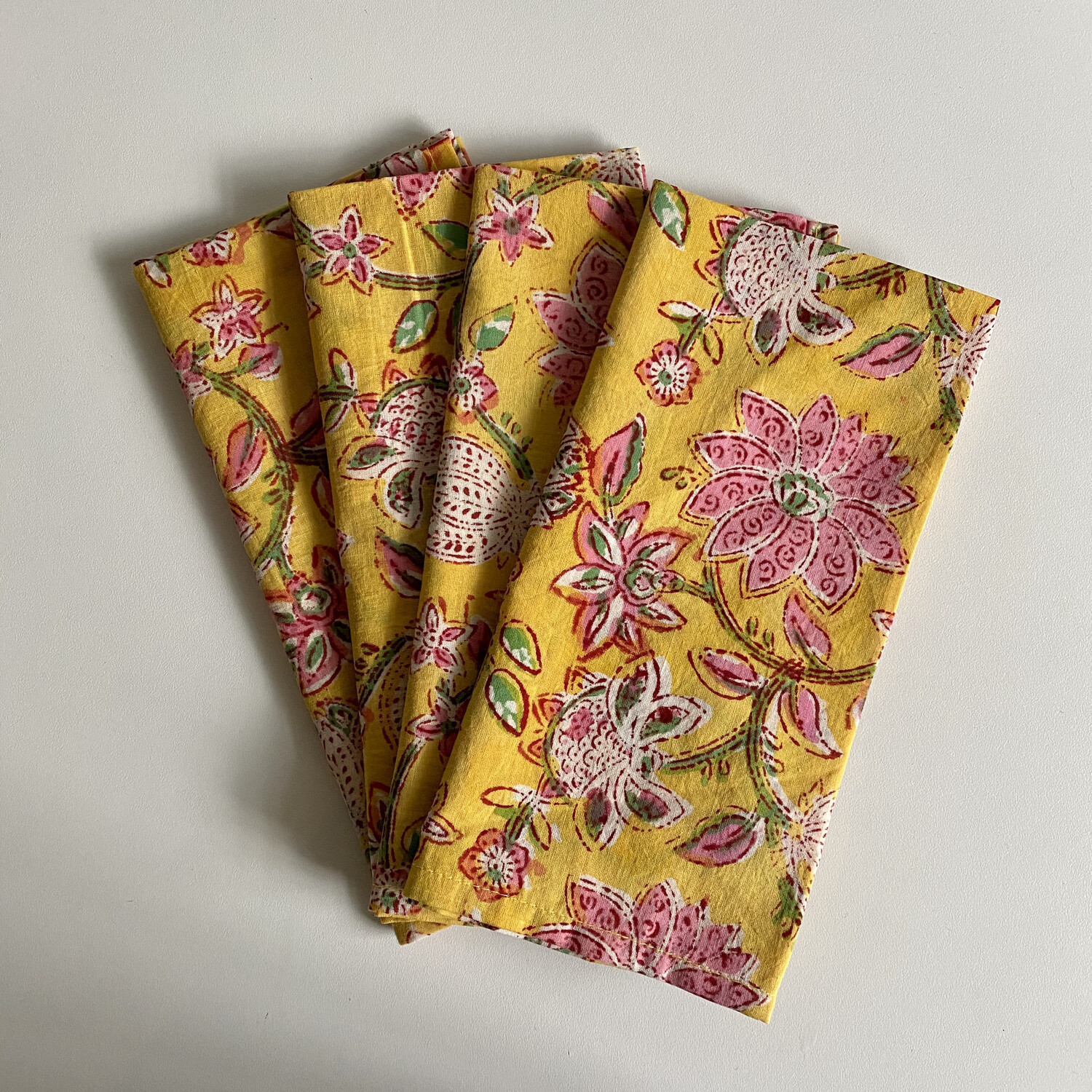 Hand Block Printed Napkins In Sunny Disposition