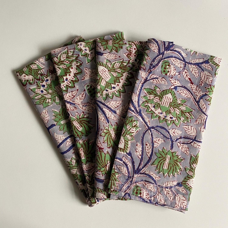 Hand Block Printed Napkins In Wilderness