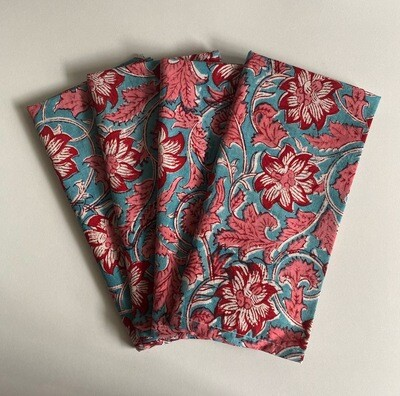 Hand Block Printed Napkins In Blooming Marvellous