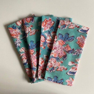 Hand Block Printed Napkins In Peaches And Petals