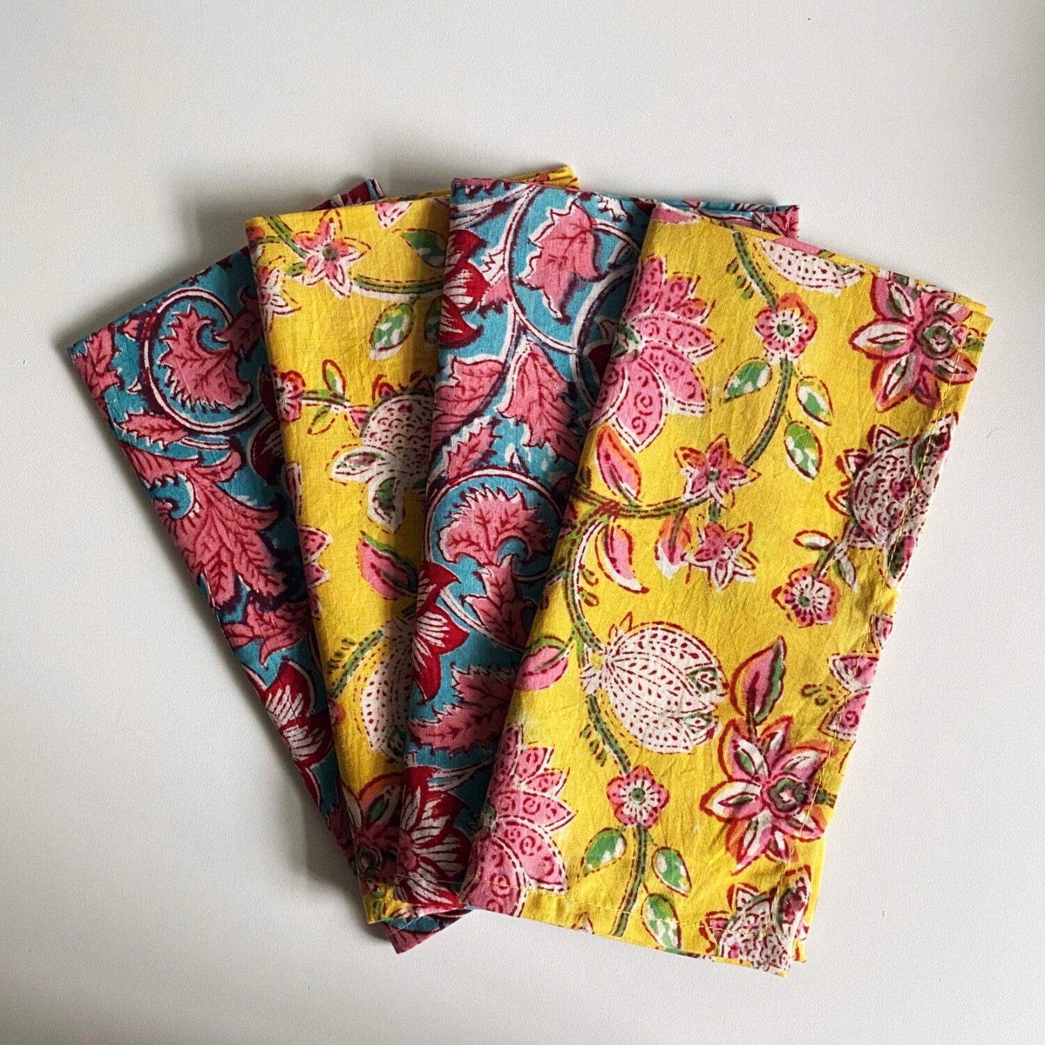 Hand Block Printed Napkins In Blooming Marvellous And Sunny Disposition