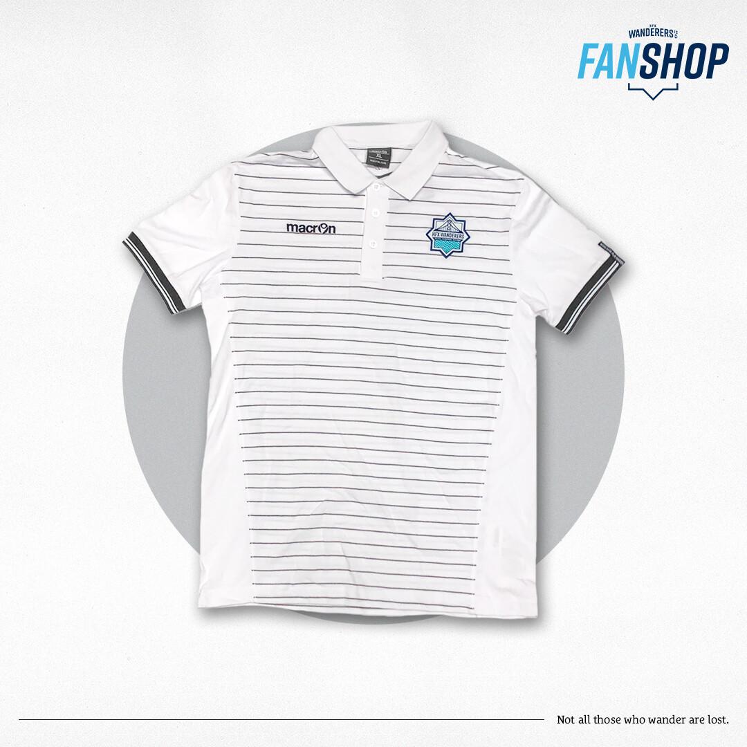 Macron- White Player Polo with Stripes