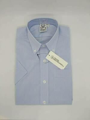 Jongenshemd wit/blauw gestreept met korte mouwen