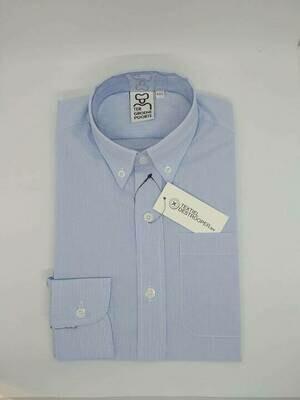 Jongenshemd wit/blauw gestreept met lange mouwen