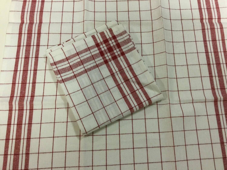 Zaalhanddoek vlaslinnen wit/rood geruit