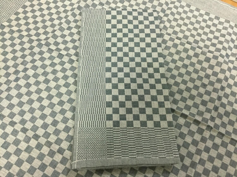 Keukenhanddoek blauw geblokt ( 80x80 cm )