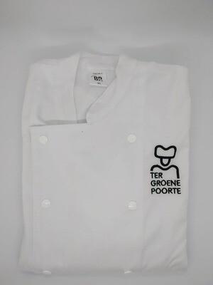 Bakkers/slagers/keuken-jas met drukknopen met naam van de school