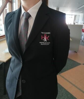 Zwarte blazer voor service met schoollogo