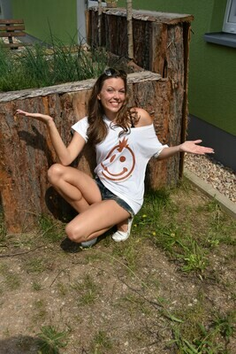 06. GLITTER SMILEY - HAPPINESS REBEL - Women`s White Oversized T - Shirt