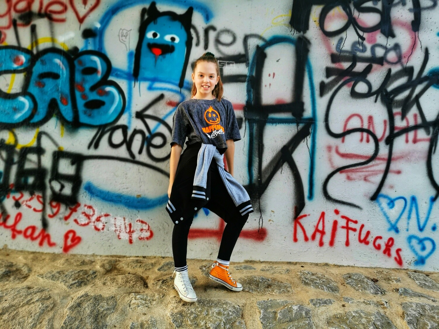 35. KIDS - Acid Washed Cropped Tee -        HAPPINESS REBEL