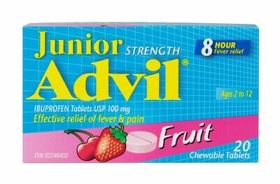 Advil JR Chewable Tablets 100mg Fruit 20-Ages 2-12