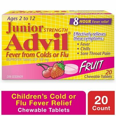Advil JR Chewable Tablets Fever 100mg Fruit 20-Ages 2-12